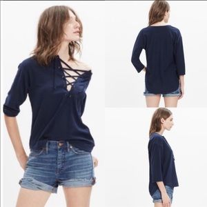Madewell Libra Lace Up Tee In Navy Blue